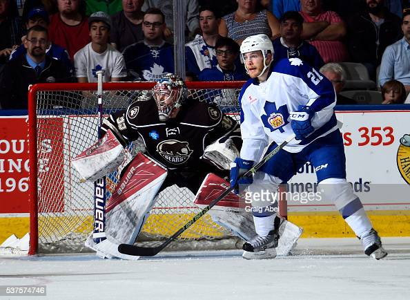 Ben Smith of the Toronto Marlies gets in front of goalie Justin Peters of the Hershey Bears during AHL Eastern Conference Final playoff game action...