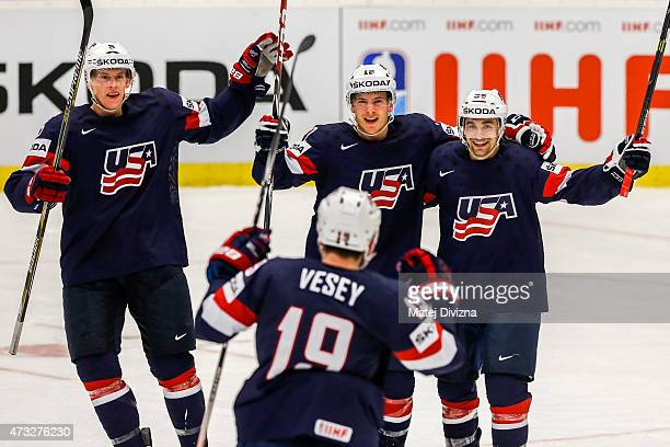 Ben Smith of USA celebrates his goal with his teammates during the IIHF World Championship quaterfinal match between USA and Switzerland at CEZ Arena...
