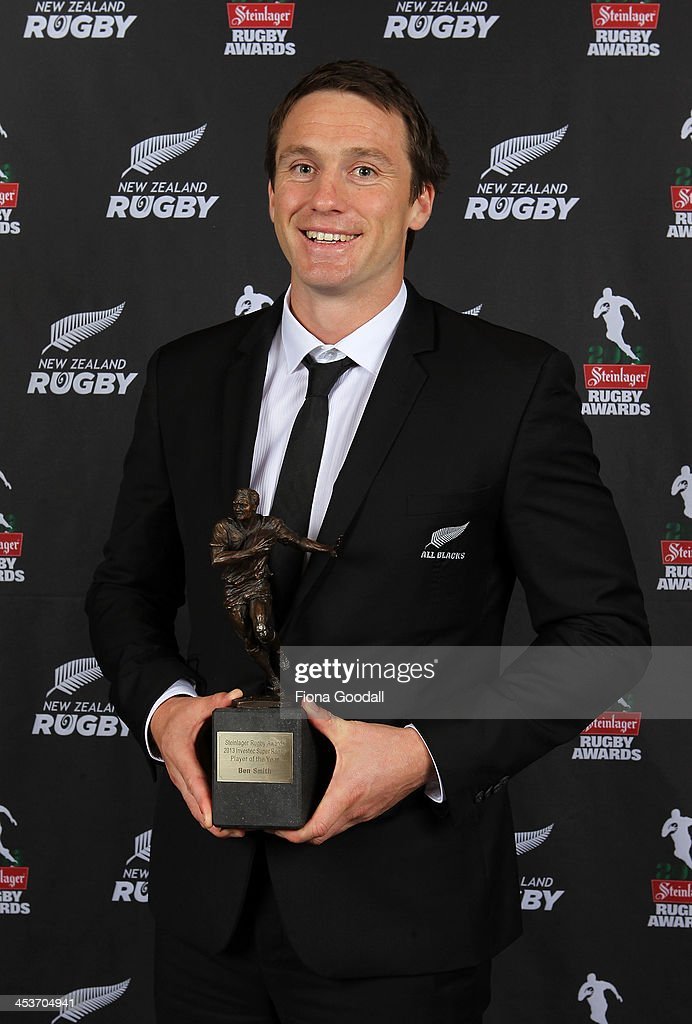 Ben Smith wins the Investec Super Rugby Player of the Year award during the 2013 Steinlager Rugby Awards at SkyCity Convention Centre on December 5, 2013 in Auckland, New Zealand.