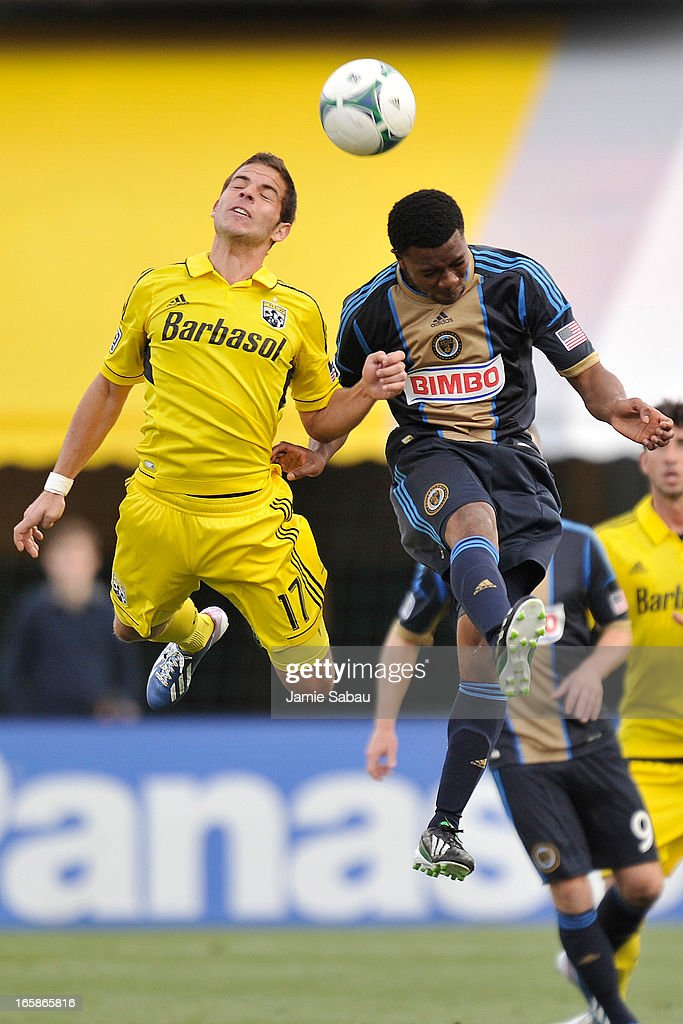 Ben Speas #17 of the Columbus Crew and Michael Lahoud #13 of Philadelphia Union battle for control of the ball in the second half on April 6, 2013 at Crew Stadium in Columbus, Ohio. Columbus and Philadelphia played to a 1-1 tie.