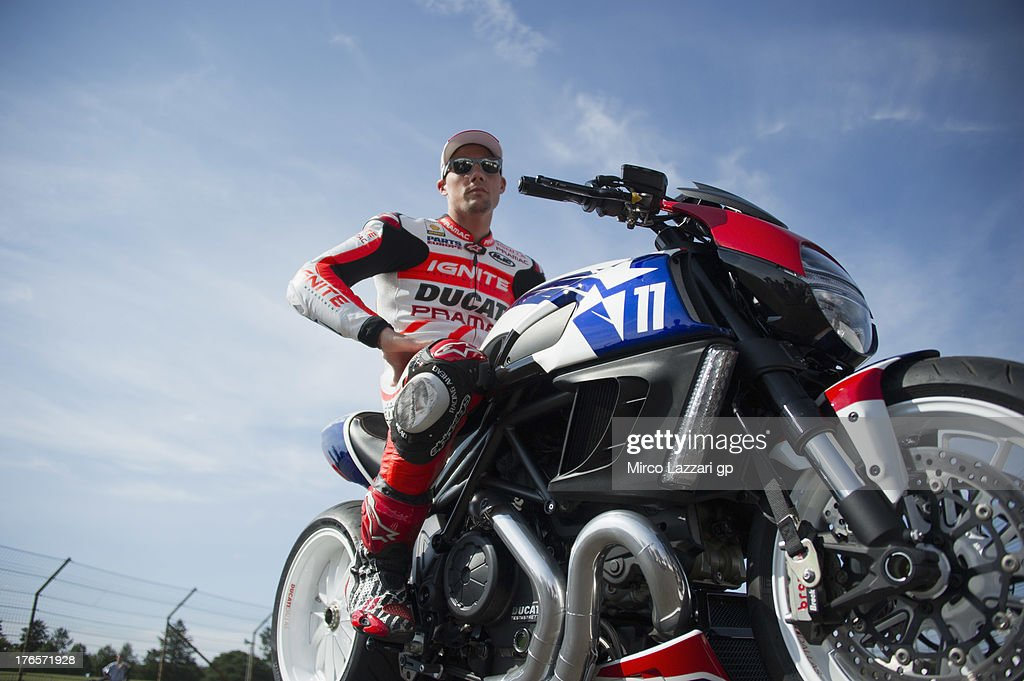Ben Spies of USA and Ignite Pramac Racing Team poses during the test of Ducati Diavel on track during the MotoGp Red Bull US Indianapolis Grand Prix...