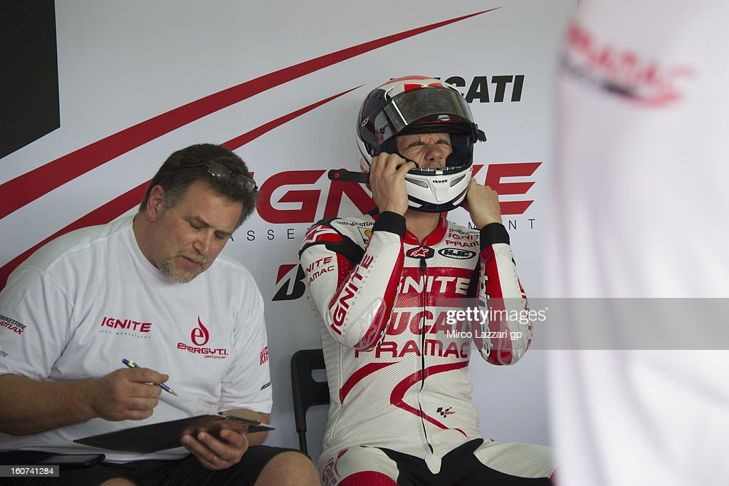 Ben Spies of USA and Ignite Pramac Racing Team prepares to start in box during the MotoGP Tests in Sepang Day Three at Sepang Circuit on February 5...