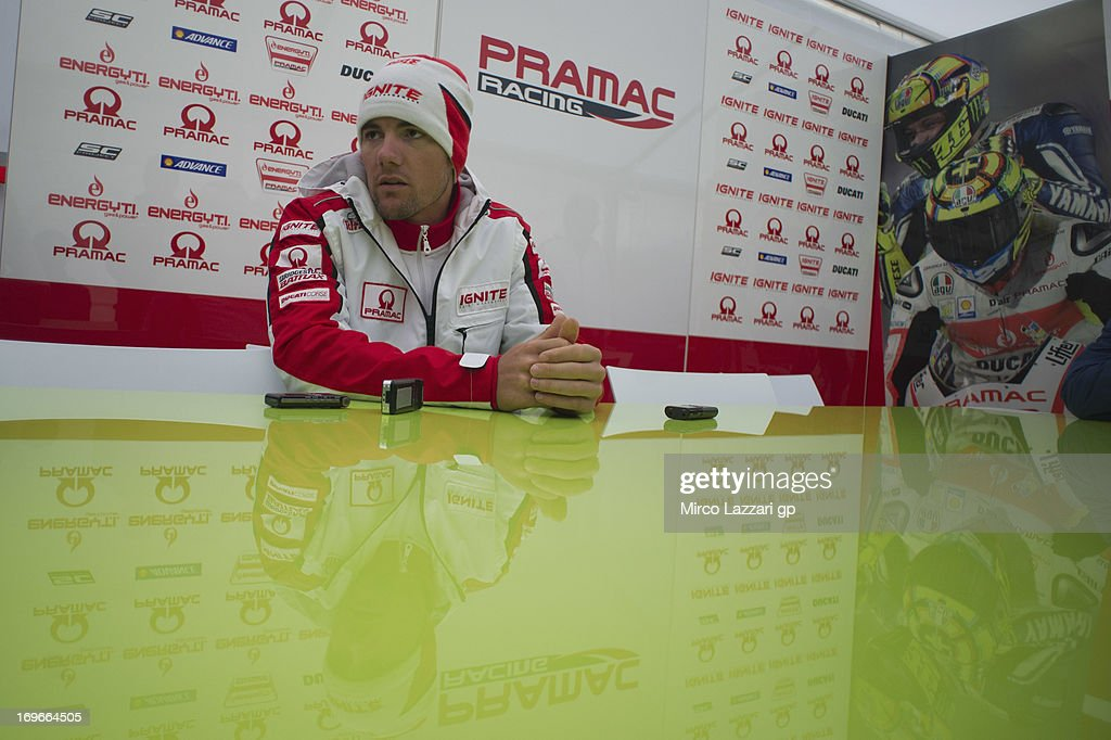 Ben Spies of USA and Ignite Pramac Racing Team speaks with journalists during the MotoGp of Italy Previews at Mugello Circuit on May 30 2013 in...