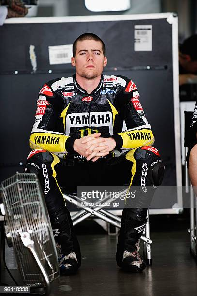 Ben Spies of USA and Monster Yamaha Tech 3 looks on in box during the final day of the MotoGP test at Sepang International Circuit near Kuala Lumpur...