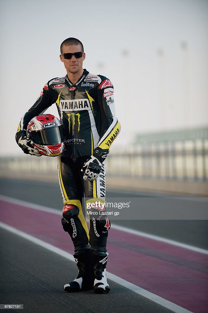 Ben Spies of USA and Monster Yamaha Tech 3 poses on track during the official photo for the start of the season during the second day of testing at...