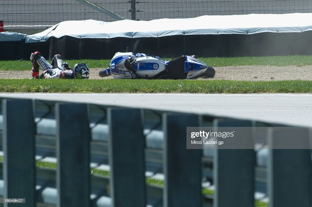 Ben Spies of USA and Yamaha Factory Racing crashed out during the qualifying practice of the Red Bull Indianapolis Grand Prix at Indianapolis...