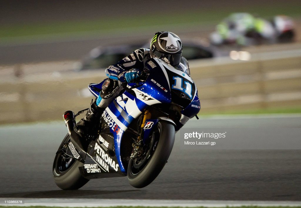 Ben Spies of USA and Yamaha Factory Racing heads down a straight during the free practice of Doha GP at Losail Circuit on March 17 2011 in Doha Qatar