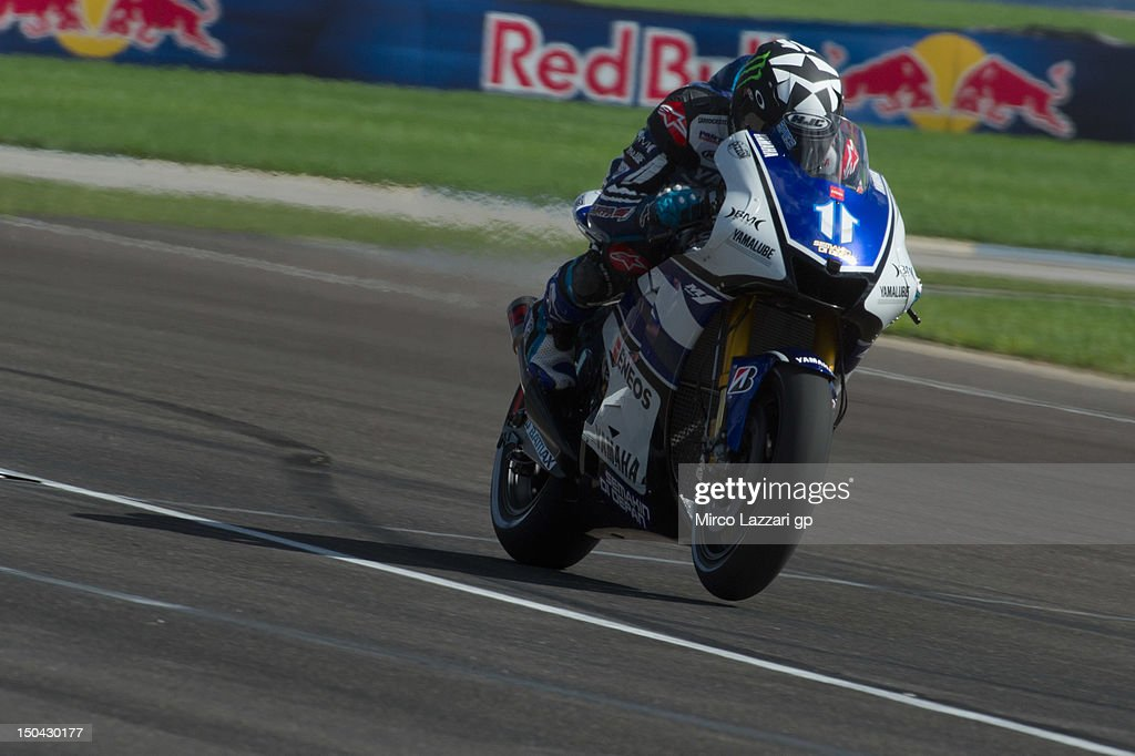 Ben Spies of USA and Yamaha Factory Racing heads down a straight during the Red Bull Indianapolis Grand Prix at Indianapolis Motorspeedway on August...