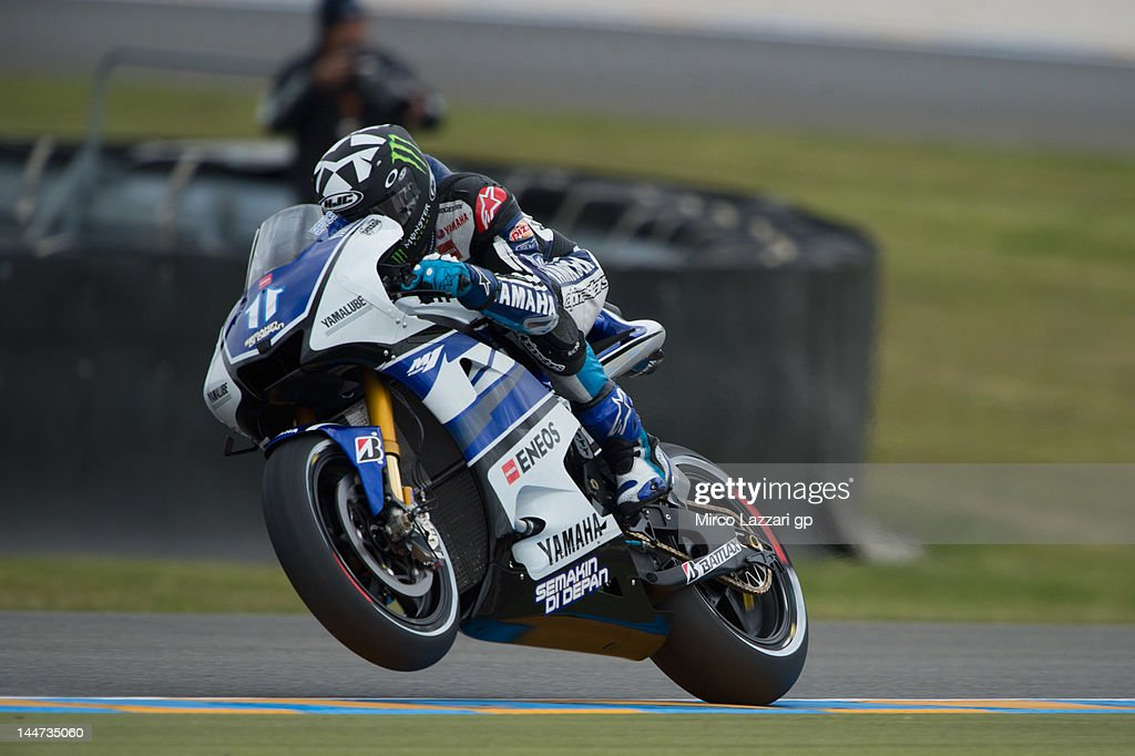 Ben Spies of USA and Yamaha Factory Racing lifts the front wheel during the free practice of MotoGp Of France on May 18 2012 in Le Mans France