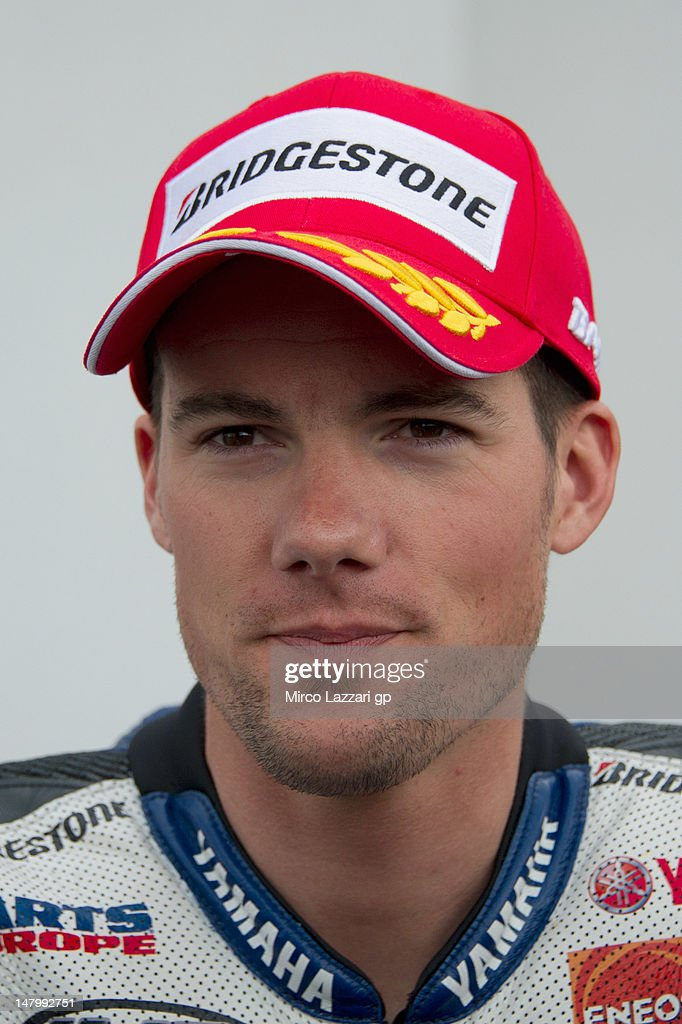 Ben Spies of USA and Yamaha Factory Racing looks on at the end of the qualifying practice of the MotoGp of Germany at Sachsenring Circuit on July 7...