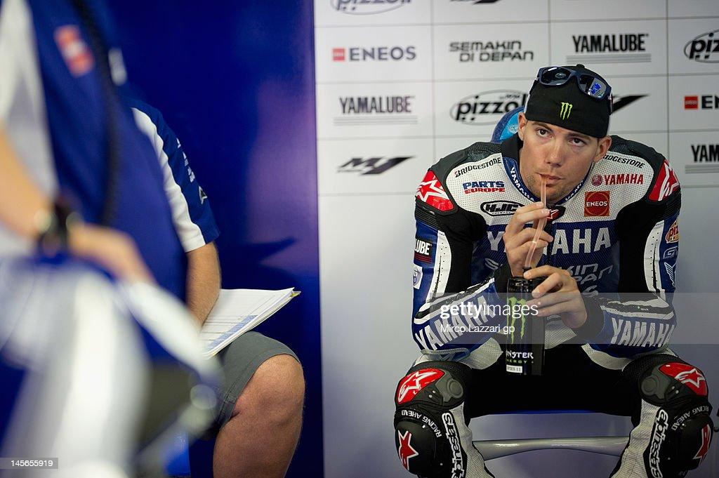 Ben Spies of USA and Yamaha Factory Racing looks on in box before the MotoGP race of the MotoGp Of Catalunya at Circuit de Catalunya on June 3 2012...