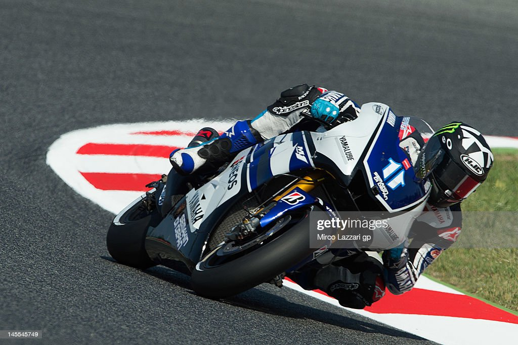 Ben Spies of USA and Yamaha Factory Racing rounds the bend during the free practice of the MotoGp Of Catalunya at Circuit de Catalunya on June 1 2012...