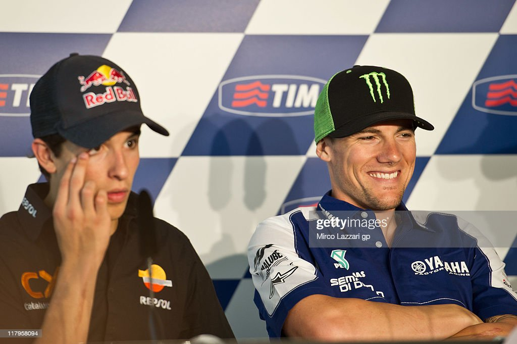 <a gi-track='captionPersonalityLinkClicked' href=/galleries/search?phrase=Ben+Spies&family=editorial&specificpeople=4295941 ng-click='$event.stopPropagation()'>Ben Spies</a> of USA and Yamaha Factory Racing smiles during the press conference at the end of the qualifying practice of the MotoGP of Italy at Mugello Circuit on July 2, 2011 in Scarperia near Florence, Italy.