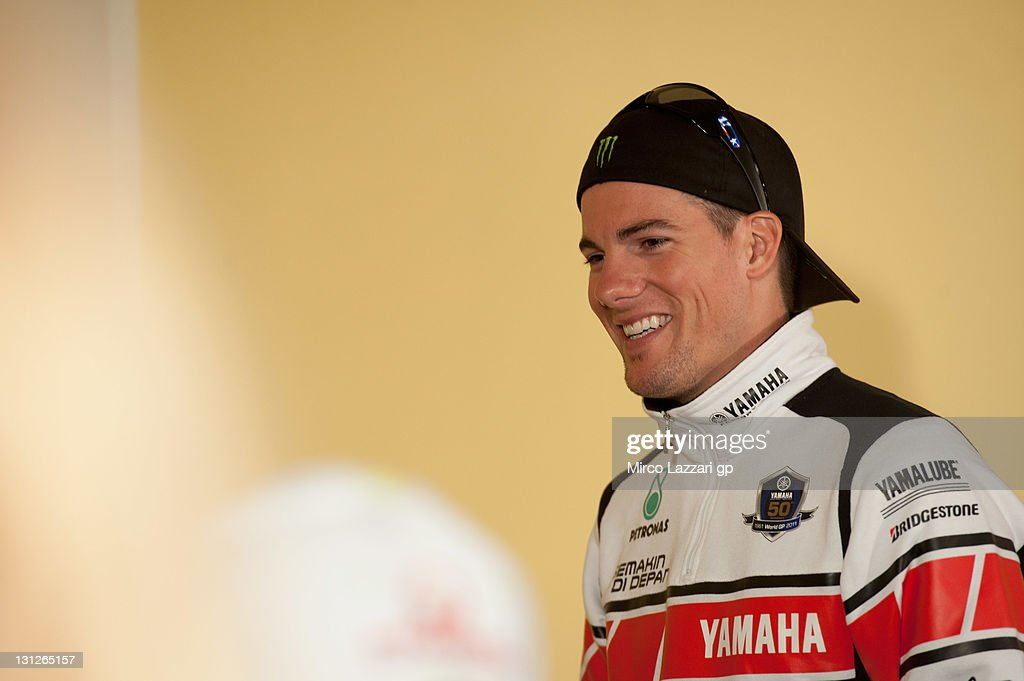 <a gi-track='captionPersonalityLinkClicked' href=/galleries/search?phrase=Ben+Spies&family=editorial&specificpeople=4295941 ng-click='$event.stopPropagation()'>Ben Spies</a> of USA and Yamaha Factory Racing smiles during the press conference pre-event of the MotoGP of Valencia at Ricardo Tormo Circuit on November 3, 2011 in Valencia, Spain.