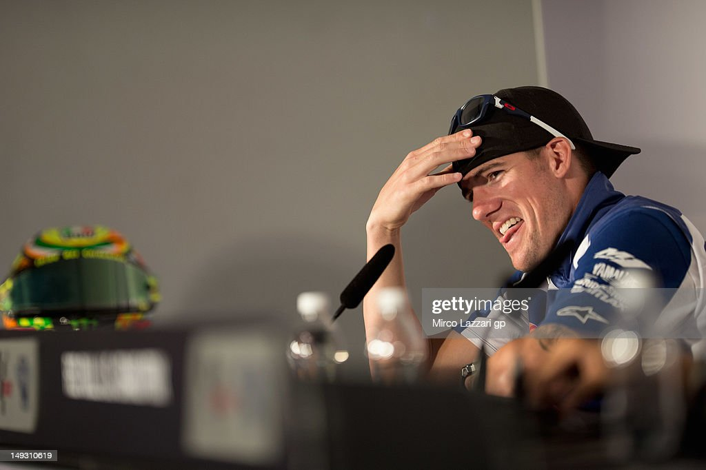 <a gi-track='captionPersonalityLinkClicked' href=/galleries/search?phrase=Ben+Spies&family=editorial&specificpeople=4295941 ng-click='$event.stopPropagation()'>Ben Spies</a> of USA and Yamaha Factory Racing smiles during the press conference pre-event of the Red Bull U.S. Grand Prix at Mazda Raceway Laguna Seca on July 26, 2012 in Monterey, California.