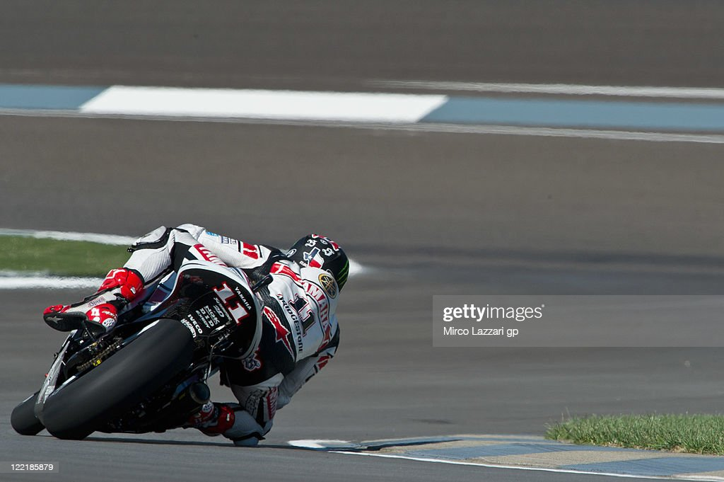 Ben Spies of USA and Yamaha Factory Team rounds the bend during the free practice of Red Bull Indianapolis GP at Indianapolis Motorspeedway on August...