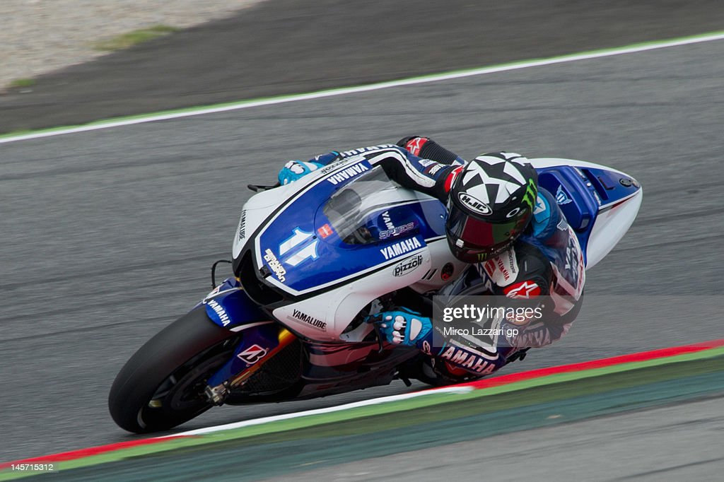 Ben Spies of USA and Yamaha Factory Team rounds the bend during the MotoGp Tests In Catalunya at Circuit de Catalunya on June 4 2012 in Montmelo Spain