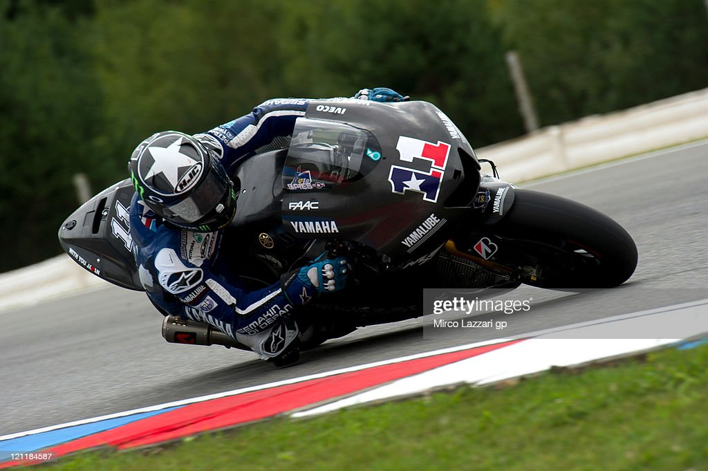 Ben Spies of USA and Yamaha Factory Team rounds the bend with the new Yamaha bike 1000 cc for 2012 season during the MotoGP Official Test at Brno...
