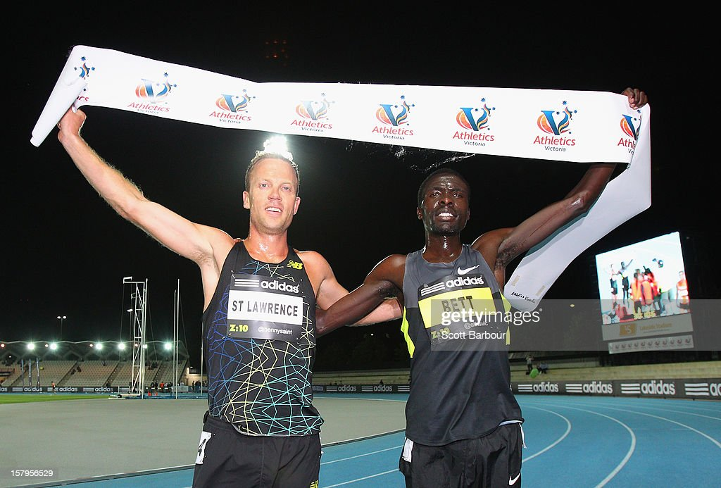 Ben St Lawrence (L) of New South Wales and race winner <a gi-track='captionPersonalityLinkClicked' href=/galleries/search?phrase=Emmanuel+Bett&family=editorial&specificpeople=8720811 ng-click='$event.stopPropagation()'>Emmanuel Bett</a> of Kenya poe after the Mens 10000 Meters Open during the Zatopek Classic at Lakeside Stadium on December 8, 2012 in Melbourne, Australia.