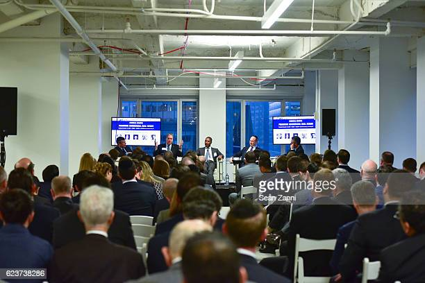 Ben Stacks Steven Kenney Chad Tredway Ralph Herzka and Jonathan Mechanic attend The Commercial Observer Financing Commercial Real Estate at 666 Fifth...
