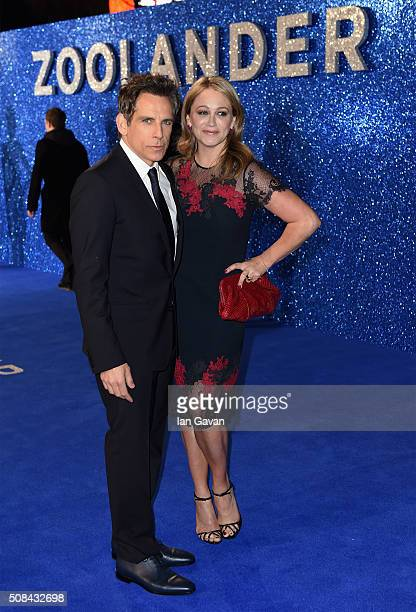 Ben Stiller and Christine Taylor attend a London Fan Screening of the Paramount Pictures film 'Zoolander No 2' at the Empire Leicester Square on...