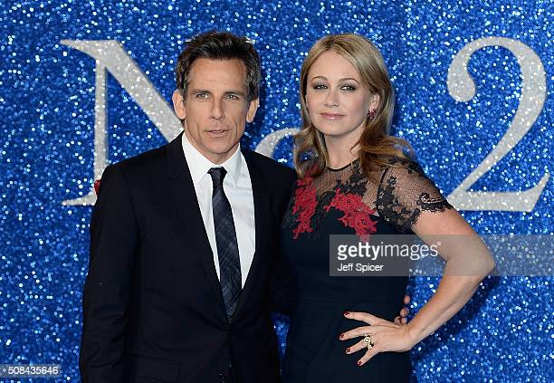 Ben Stiller and Christine Taylor attend a London Fan Screening of the Paramount Pictures film 'Zoolander No 2' at Empire Leicester Square on February...