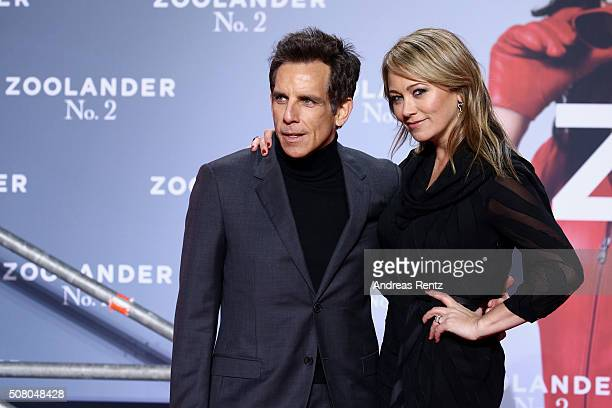Ben Stiller and Christine Taylor attend the Berlin fan screening of the Paramount Pictures film 'Zoolander No 2' at CineStar on February 2 2016 in...