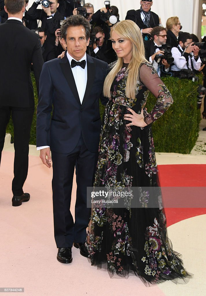 Ben Stiller (L) and Christine Taylor attend the 'Manus x Machina: Fashion In An Age Of Technology' Costume Institute Gala at Metropolitan Museum of Art on May 2, 2016 in New York City.