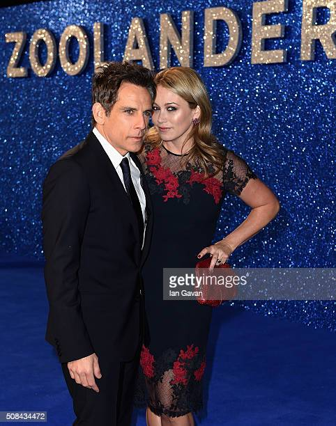 Ben Stiller and Christine Taylor attends a London Fan Screening of the Paramount Pictures film 'Zoolander No 2' at the Empire Leicester Square on...