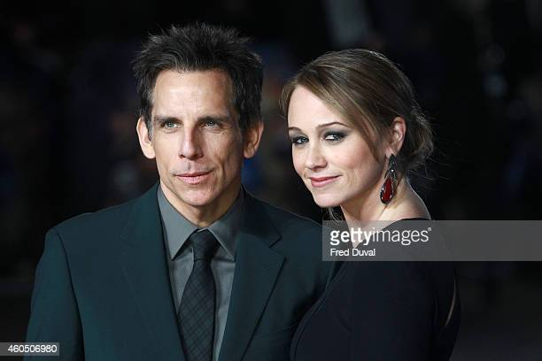 Ben Stiller and Christine Taylor attends the UK Premiere of 'Night At The Museum Secret Of The Tomb' at Empire Leicester Square on December 15 2014...