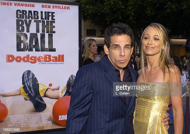 Ben Stiller and Christine Taylor during 'Dodgeball A True Underdog Story' World Premiere Red Carpet at Mann Village Theater in Westwood California...
