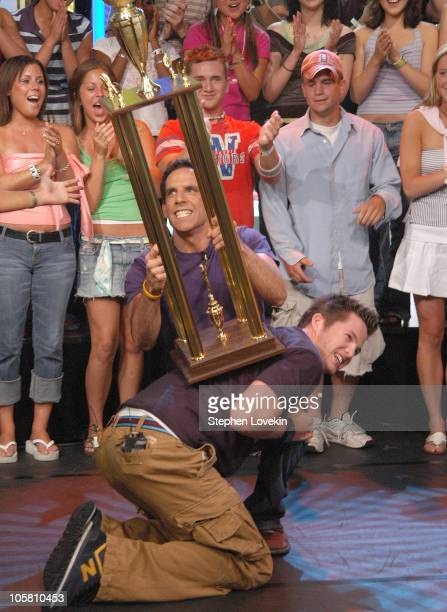 Ben Stiller and Damien Fahey during Ben Stiller Paris Hilton and Lil' Jon Visit MTV's 'TRL' June 15 2004 at MTV Studios in New York City New York...
