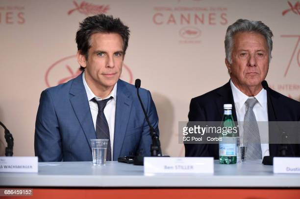 Ben Stiller and Dustin Hoffman attend 'The Meyerowitz Stories' press conference during the 70th annual Cannes Film Festival at Palais des Festivals...