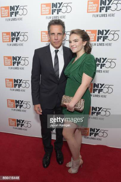 Ben Stiller and Ella Olivia Stiller attend the New York Film Festival premiere of The Meyerowitz Stories at Alice Tully Hall on October 1 2017 in New...