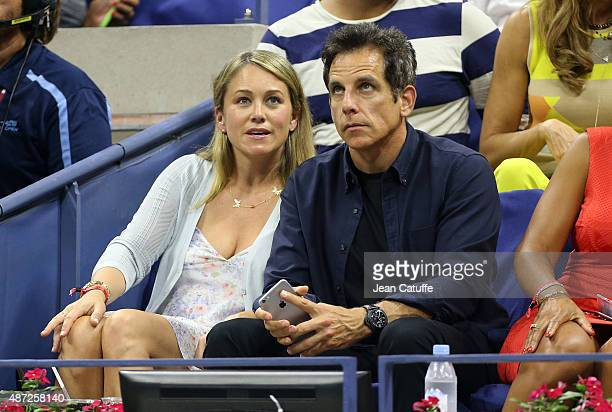 Ben Stiller and his wife Christine Tayler attend day eight of the 2015 US Open at USTA Billie Jean King National Tennis Center on September 7 2015 in...