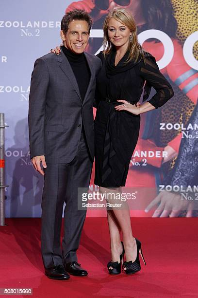 Ben Stiller and his wife Christine Taylor attends the Berlin fan screening of the film 'Zoolander No 2' at CineStar on February 2 2016 in Berlin...