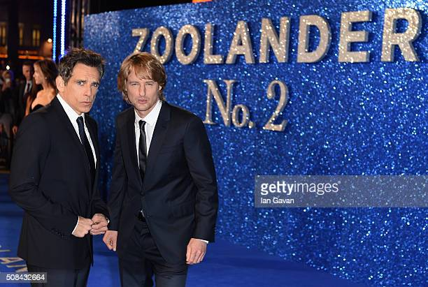 Ben Stiller and Owen Wilson attend a London Fan Screening of the Paramount Pictures film 'Zoolander No 2' at the Empire Leicester Square on February...