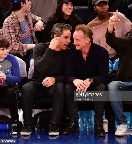 Ben Stiller and Sting attend the Toronto Raptors Vs New York Knicks game at Madison Square Garden on November 22 2017 in New York City