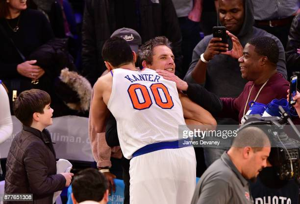 Ben Stiller and Tracy Morgan attend the Toronto Raptors Vs New York Knicks game at Madison Square Garden on November 22 2017 in New York City