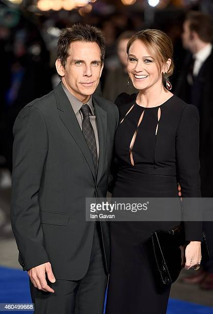 Ben Stiller and wife Christine Taylor attend the UK Premiere of 'Night At The Museum Secret Of The Tomb' at Empire Leicester Square on December 15...