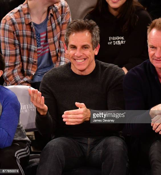 Ben Stiller attends the Toronto Raptors Vs New York Knicks game at Madison Square Garden on November 22 2017 in New York City