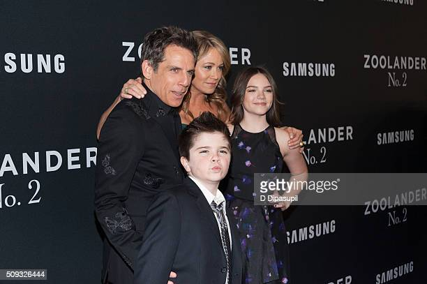 Ben Stiller Christine Taylor Quinlin Stiller and Ella Stiller attend the 'Zoolander 2' world premiere at Alice Tully Hall on February 9 2016 in New...
