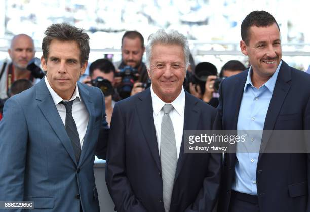 Ben Stiller Dustin Hoffman and Adam Sandler attend the 'The Meyerowitz Stories' Photocall during the 70th annual Cannes Film Festival at Palais des...
