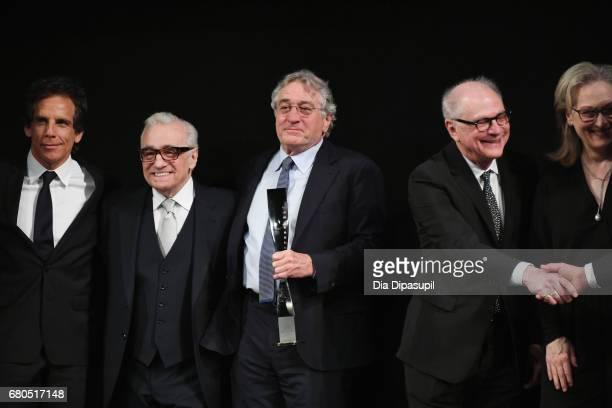 Ben Stiller Martin Scorsese Robert De Niro Barry Levinson and Meryl Streep pose onstage during the 44th Chaplin Award Gala at David H Koch Theater at...