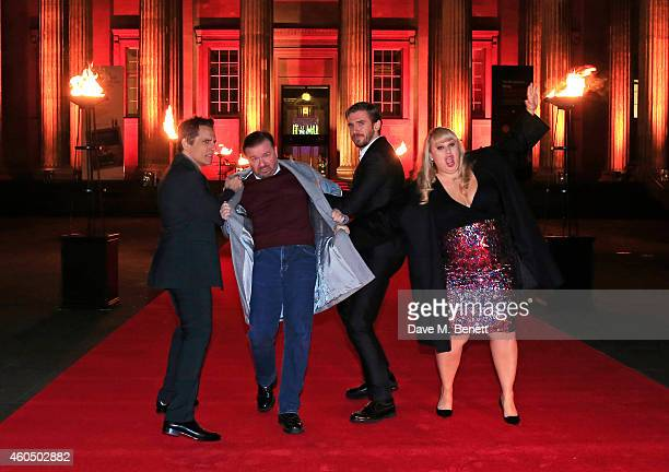 Ben Stiller Ricky Gervais Dan Stevens and Rebel Wilson attend a photocall celebrating the UK Premiere of 'Night At The Museum Secret Of The Tomb' at...