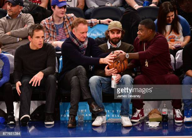 Ben Stiller Sting guest and Tracy Morgan attend the Toronto Raptors Vs New York Knicks game at Madison Square Garden on November 22 2017 in New York...