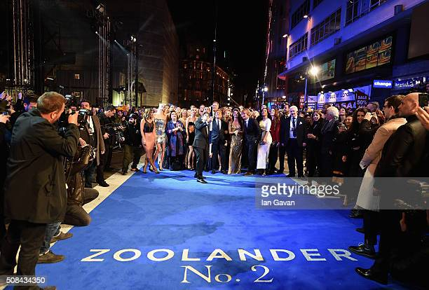 Ben Stiller with cast and guests attempt a record breaking selfie during a London Fan Screening of the Paramount Pictures film 'Zoolander No 2' at...