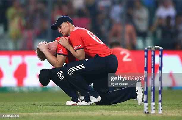 Ben Stokes and Joe Root of England look dejected after West Indies scored the winning runs during the ICC World Twenty20 India 2016 Final match...