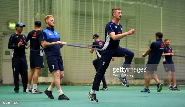 Ben Stokes and Keaton Jennings of England warm up during a nets session at Old Trafford on August 3 2017 in Manchester England