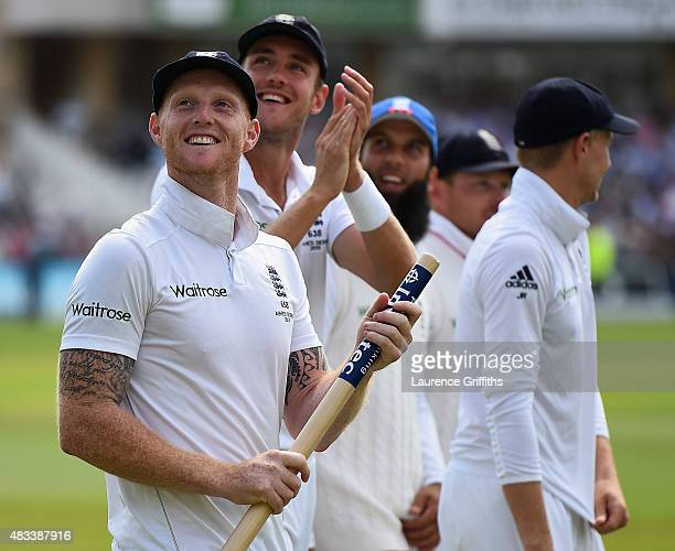 Ben Stokes and Stuart Broad of England celebrate winning the Ashes during day three of the 4th Investec Ashes Test match between England and...